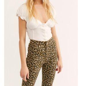 Free People Belle Printed Skinny Pants In Leopard